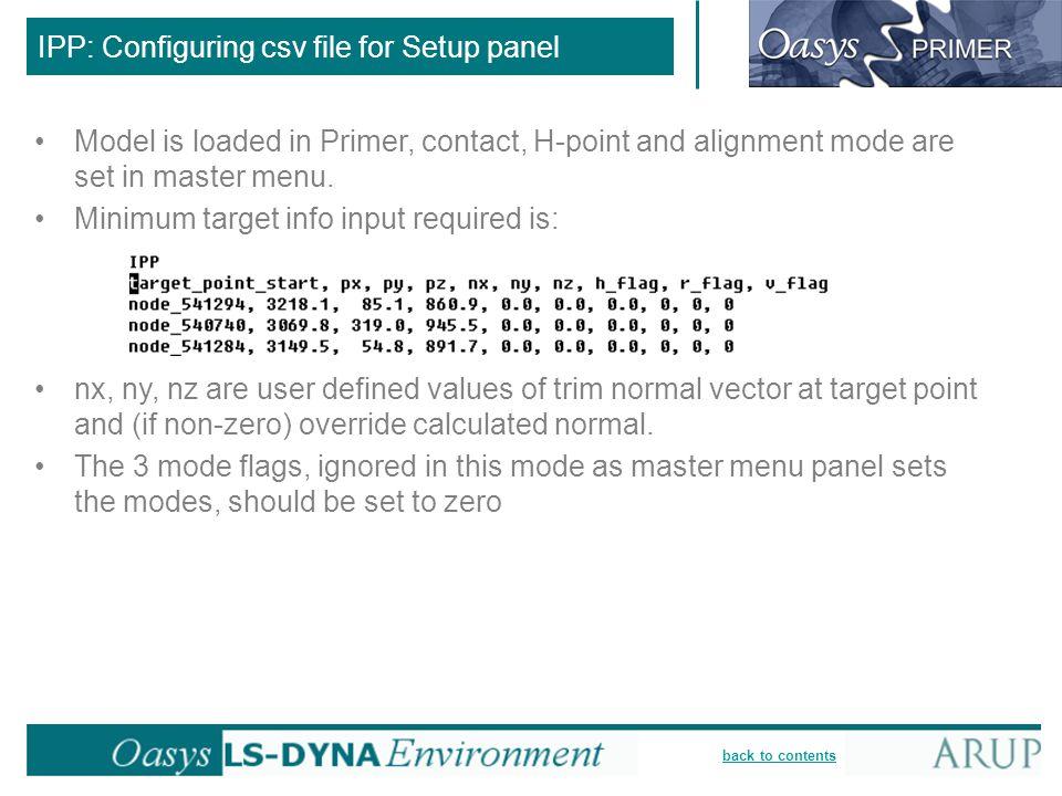 IPP: Configuring csv file for Setup panel