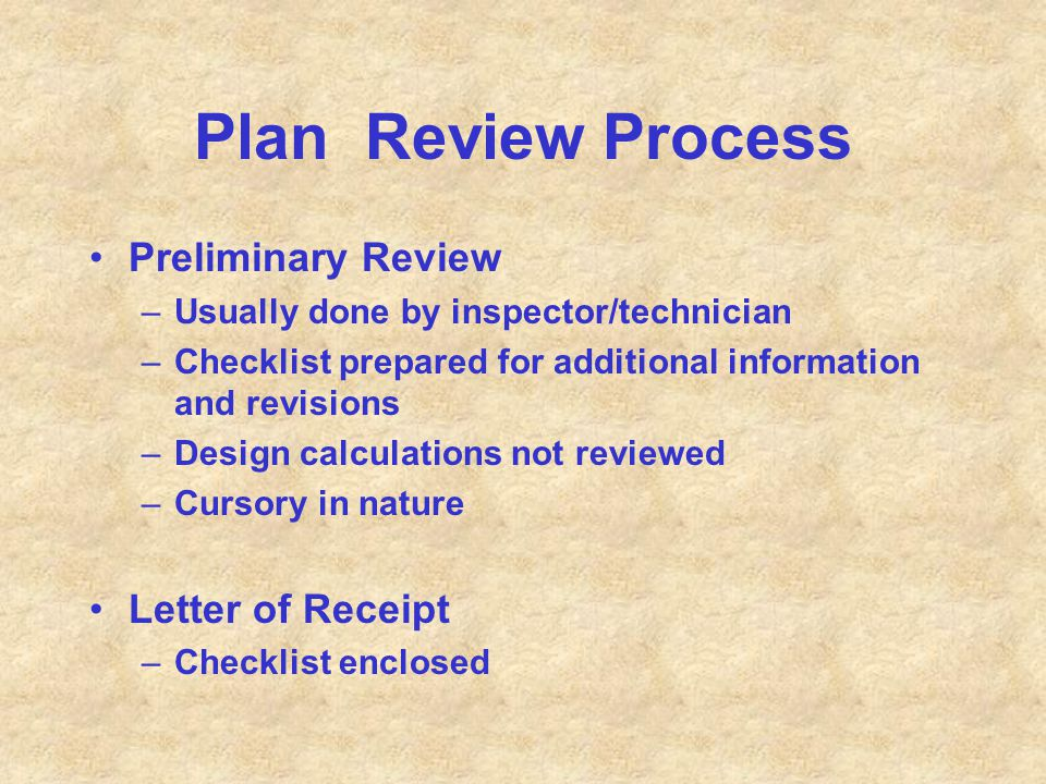Plan Review Process Preliminary Review Letter of Receipt