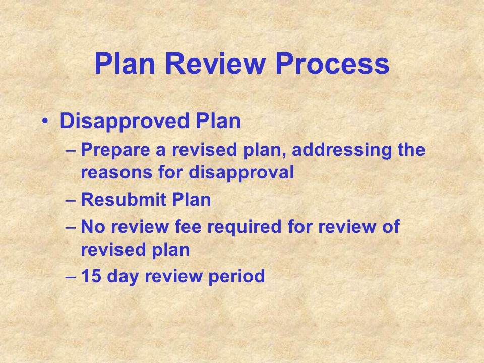 Plan Review Process Disapproved Plan