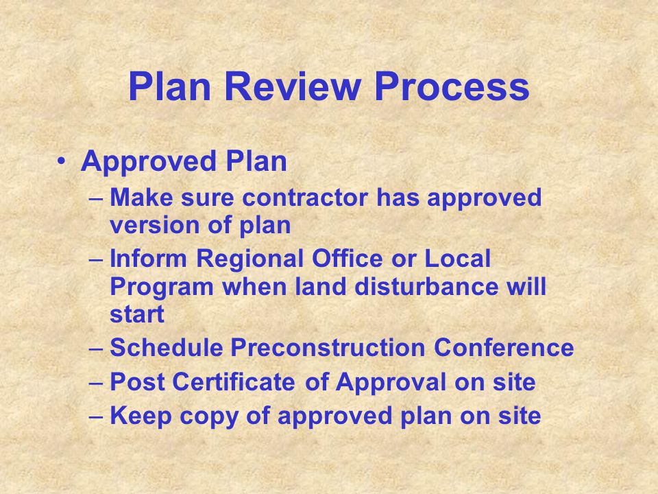 Plan Review Process Approved Plan