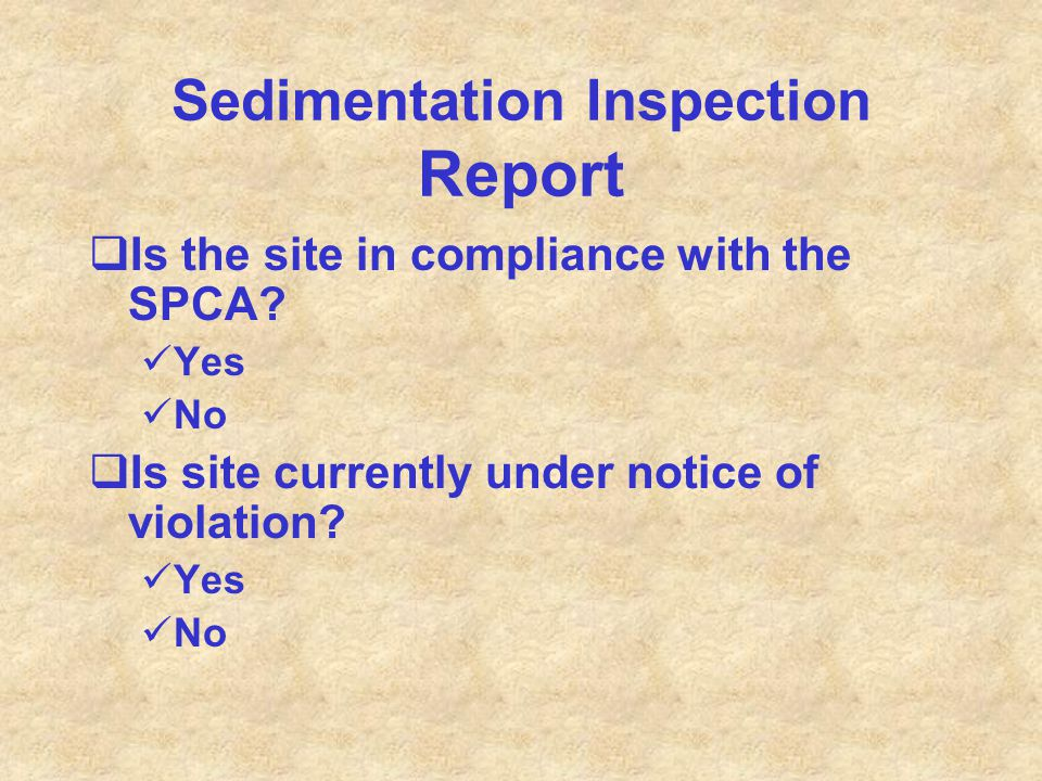 Sedimentation Inspection Report