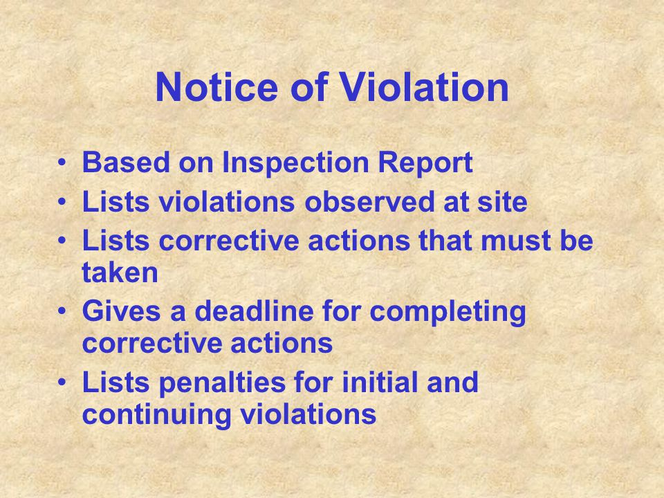 Notice of Violation Based on Inspection Report