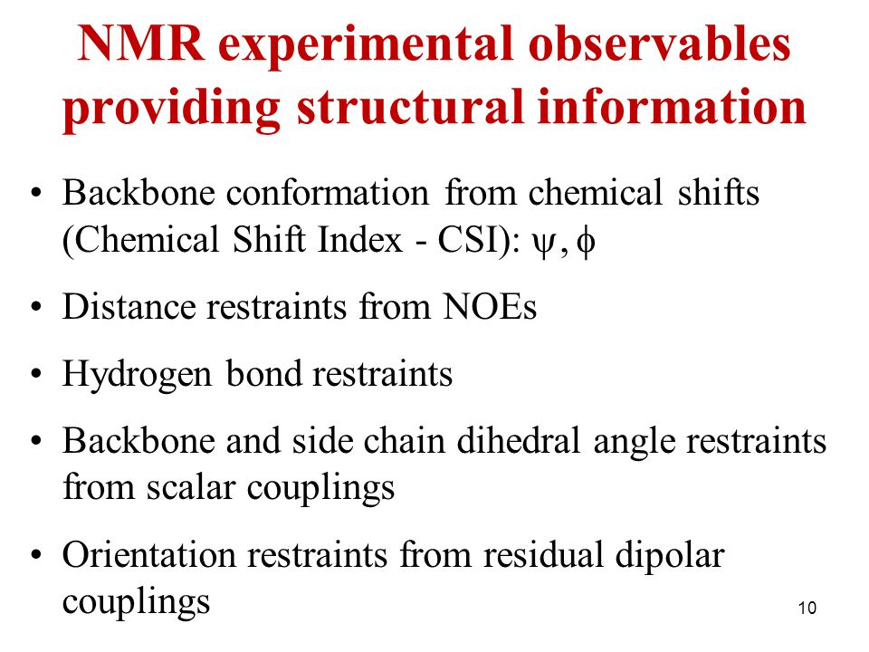 NMR experimental observables providing structural information