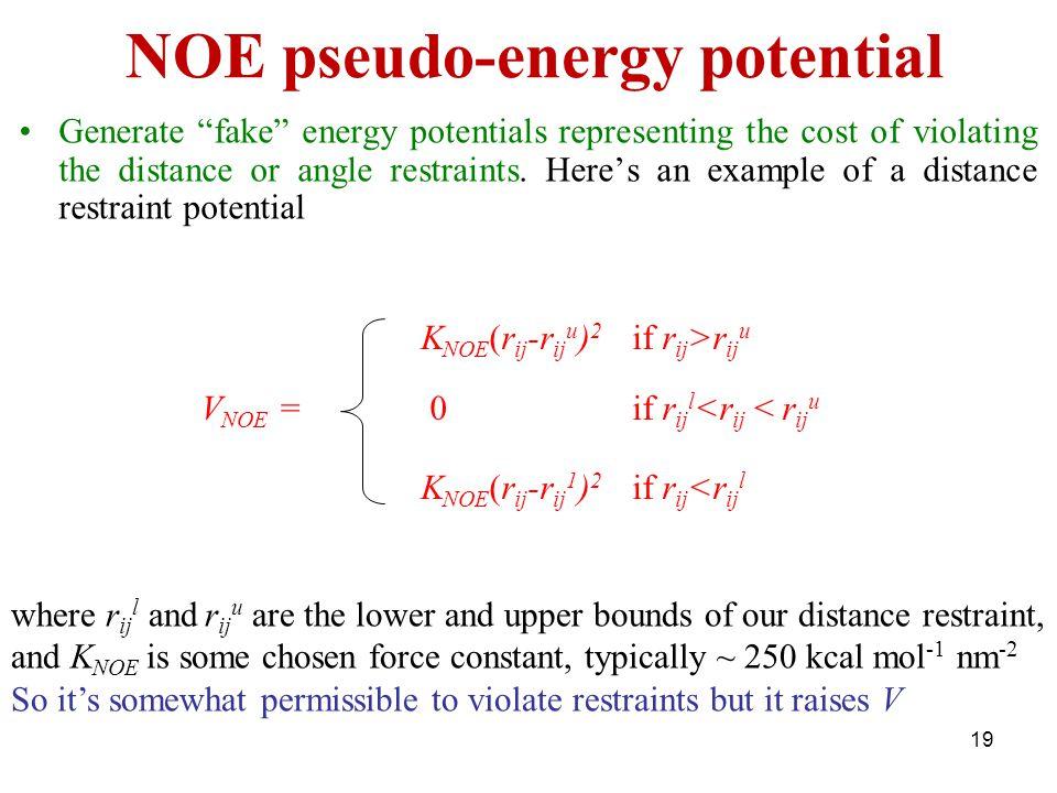 NOE pseudo-energy potential