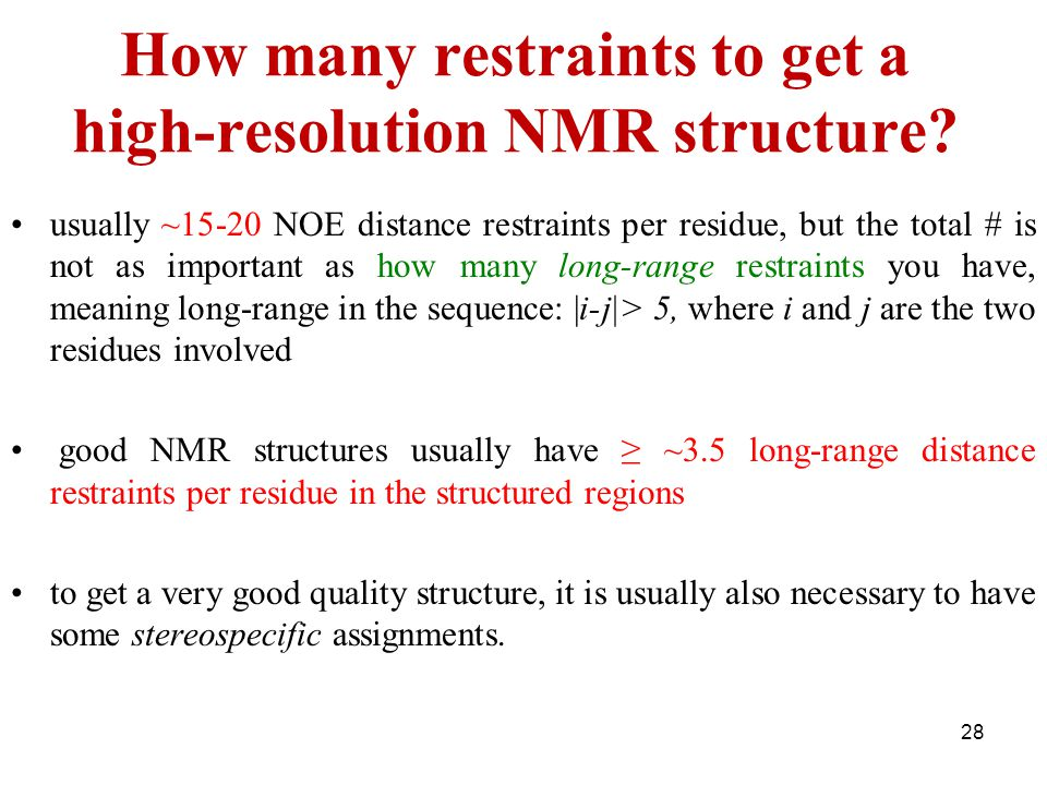 How many restraints to get a high-resolution NMR structure