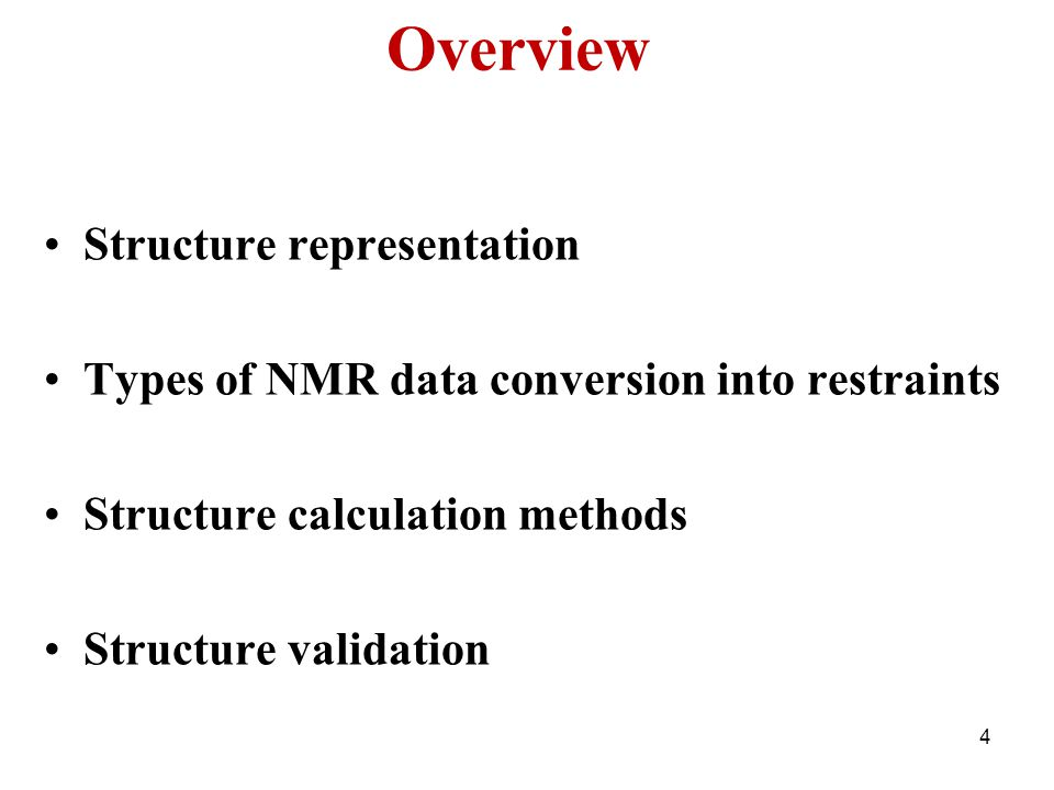 Overview Structure representation