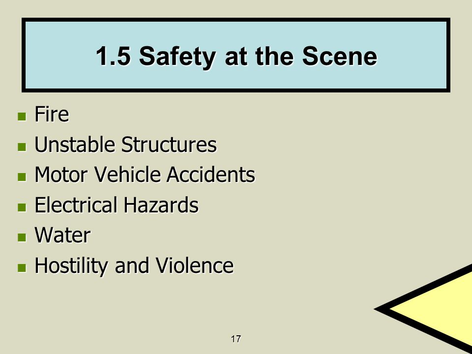 1.5 Safety at the Scene Fire Unstable Structures