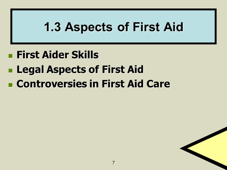 1.3 Aspects of First Aid First Aider Skills Legal Aspects of First Aid