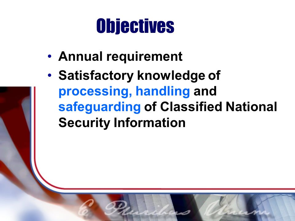 Objectives Annual requirement