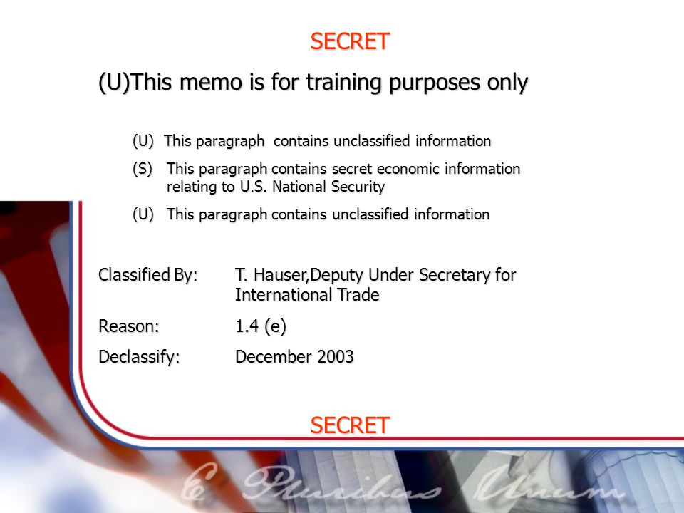 (U)This memo is for training purposes only