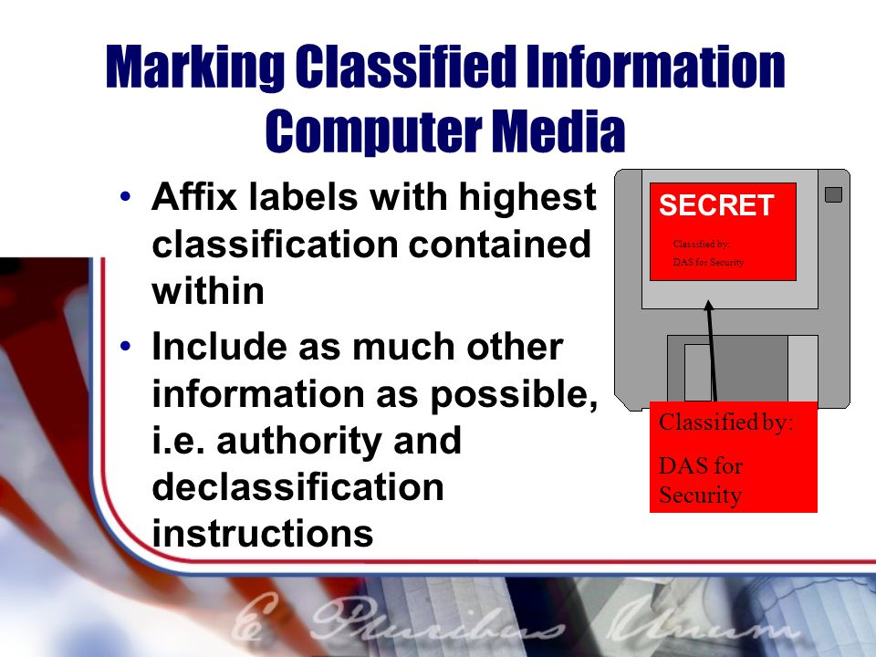 Marking Classified Information Computer Media