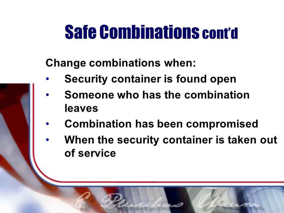 Safe Combinations cont'd
