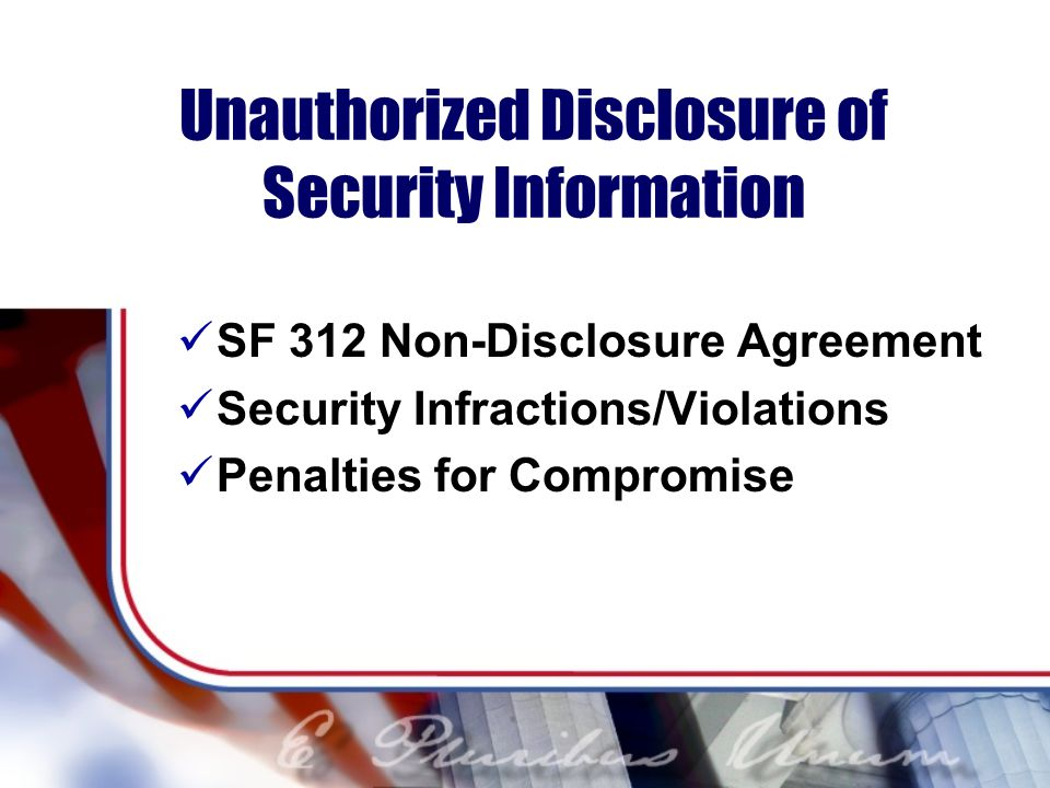 Unauthorized Disclosure of Security Information