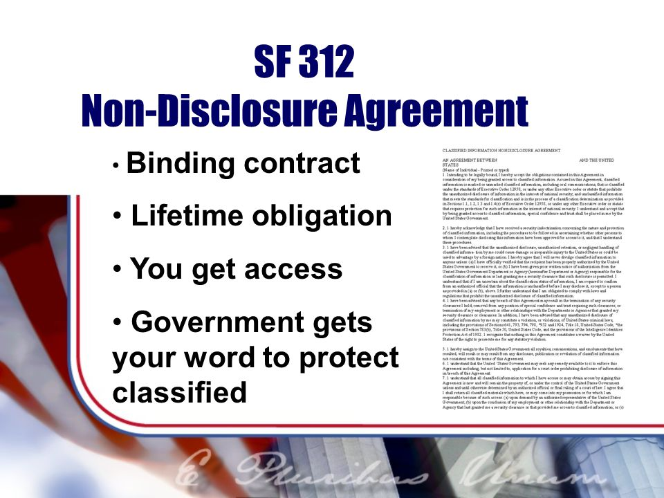 SF 312 Non-Disclosure Agreement