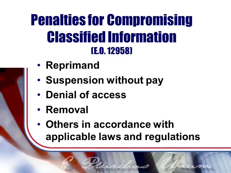Penalties for Compromising Classified Information (E.O. 12958)