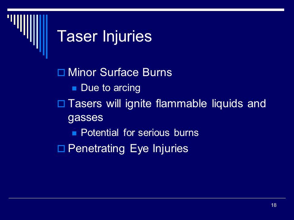 Taser Injuries Minor Surface Burns