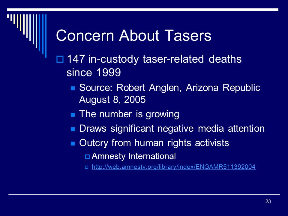 Concern About Tasers 147 in-custody taser-related deaths since 1999