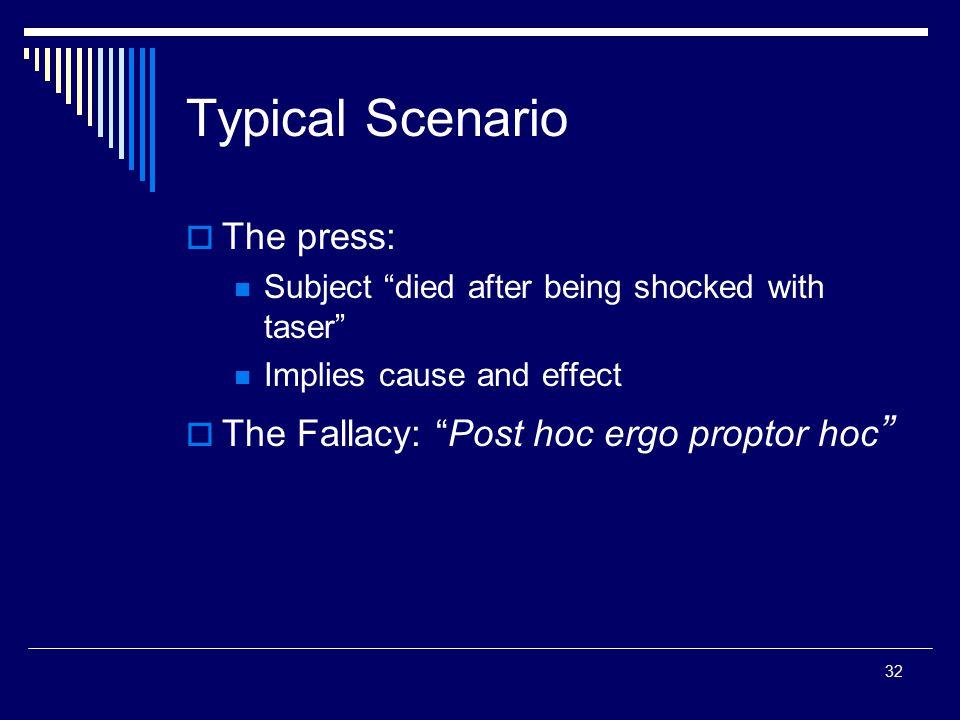 Typical Scenario The press: The Fallacy: Post hoc ergo proptor hoc