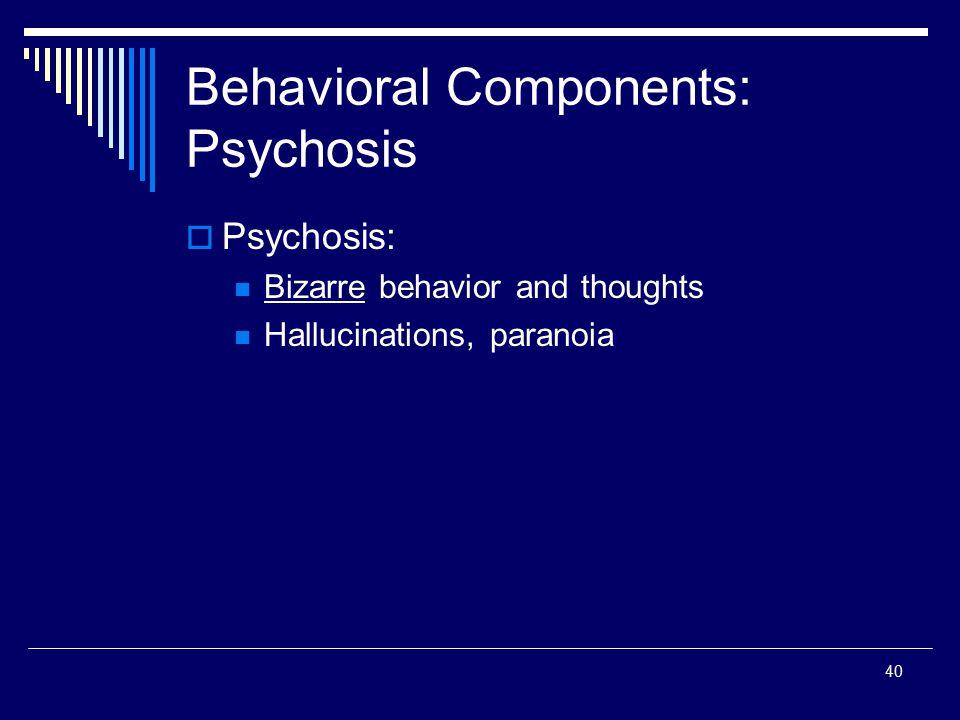 Behavioral Components: Psychosis