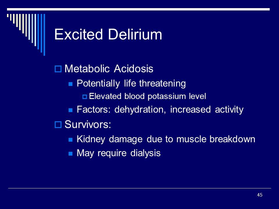 Excited Delirium Metabolic Acidosis Survivors: