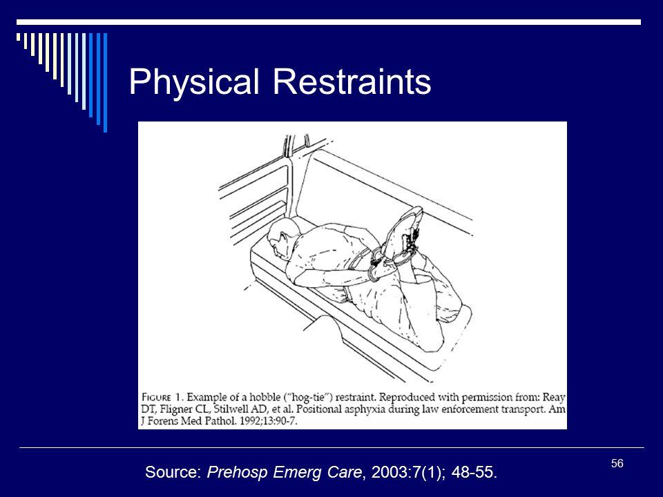 Physical Restraints Source: Prehosp Emerg Care, 2003:7(1); 48-55.
