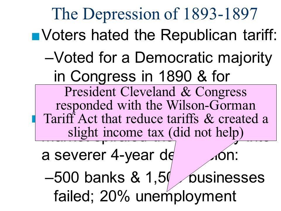 The Depression of 1893-1897 Voters hated the Republican tariff: