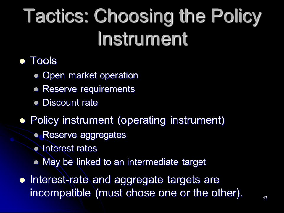 Tactics: Choosing the Policy Instrument