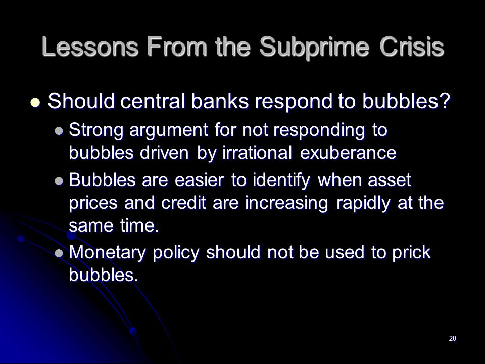 Lessons From the Subprime Crisis