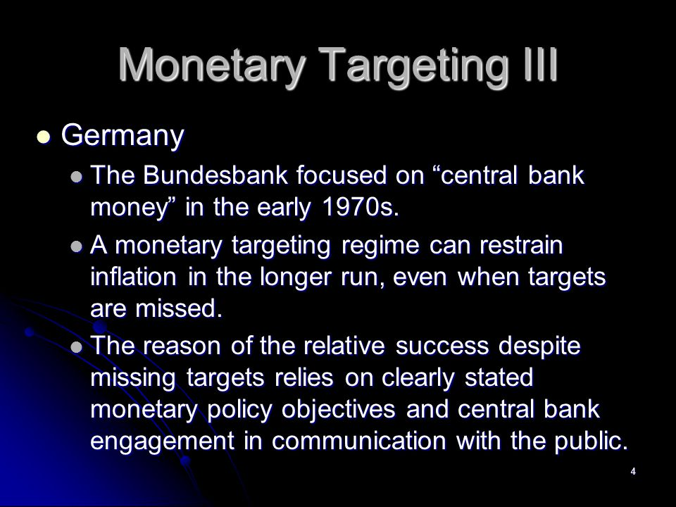 Monetary Targeting III