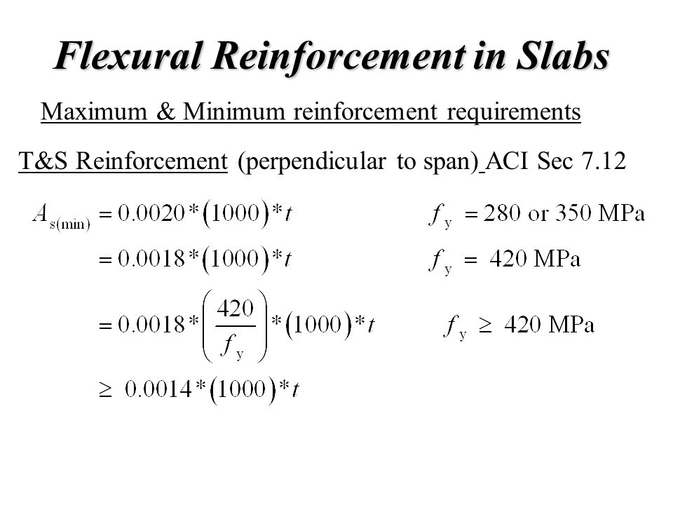 Flexural Reinforcement in Slabs