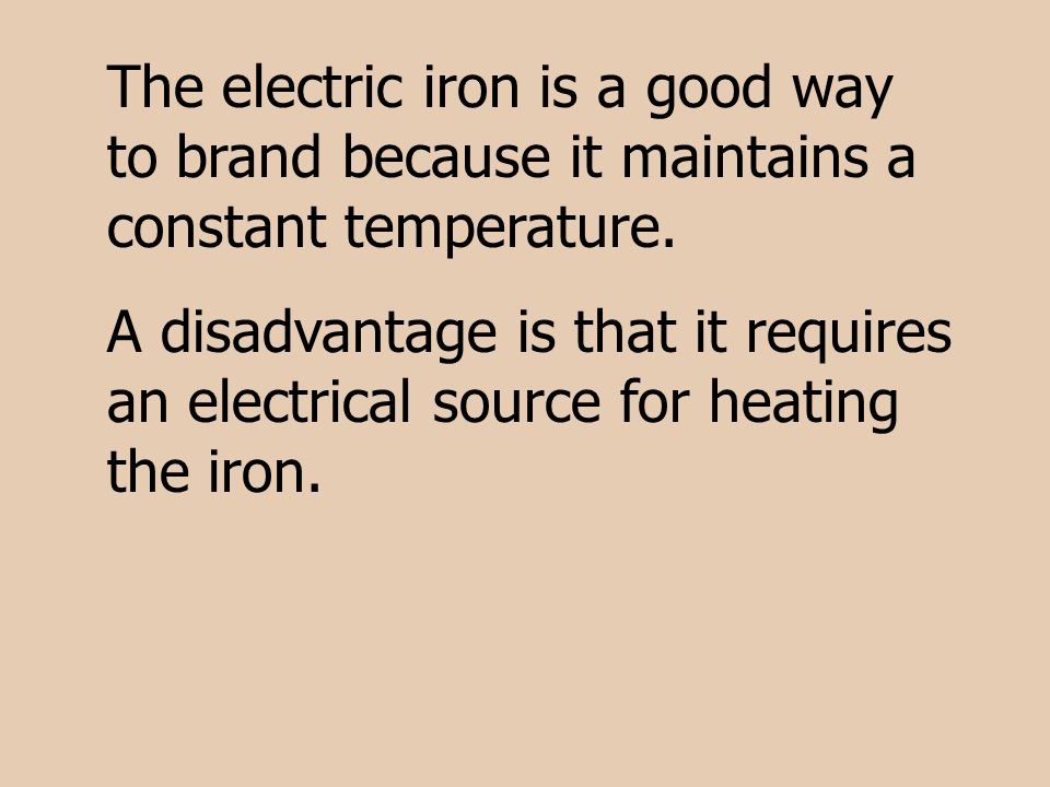 The electric iron is a good way to brand because it maintains a constant temperature.