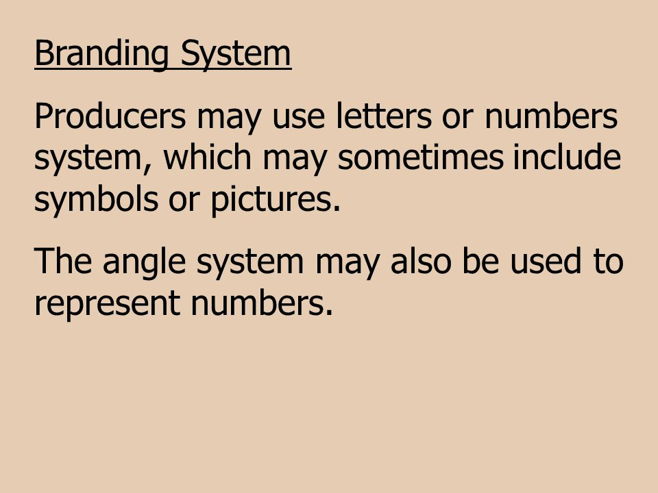 Branding System Producers may use letters or numbers system, which may sometimes include symbols or pictures.