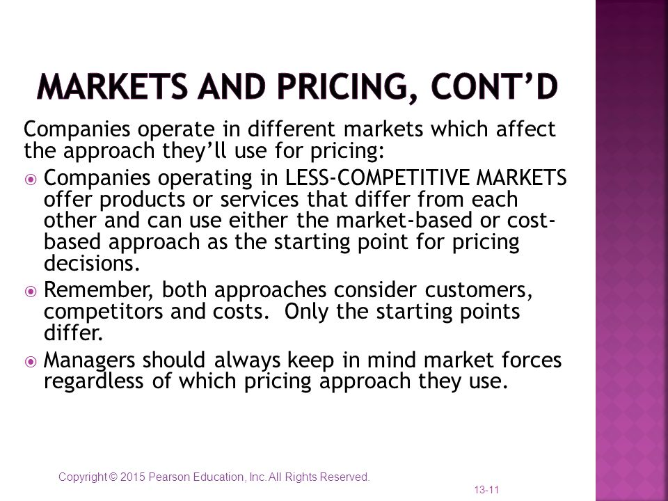 Markets and Pricing, cont'd
