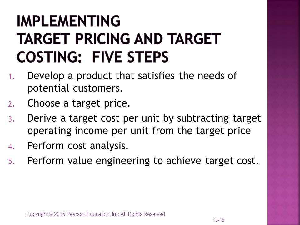 Implementing Target Pricing and Target Costing: five steps