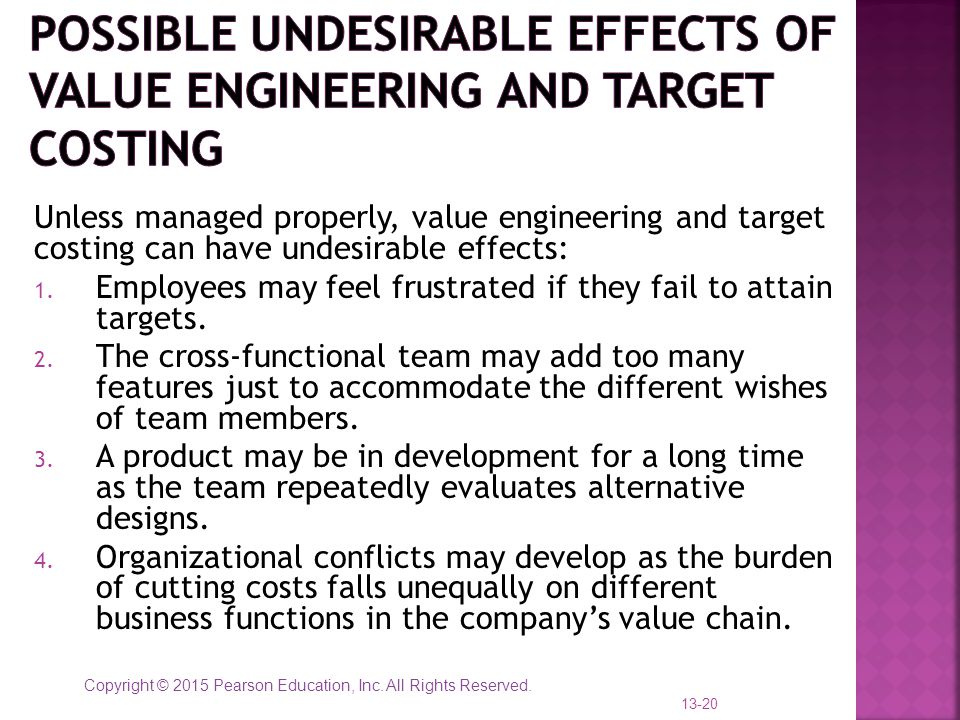 Possible undesirable effects of Value Engineering and Target Costing