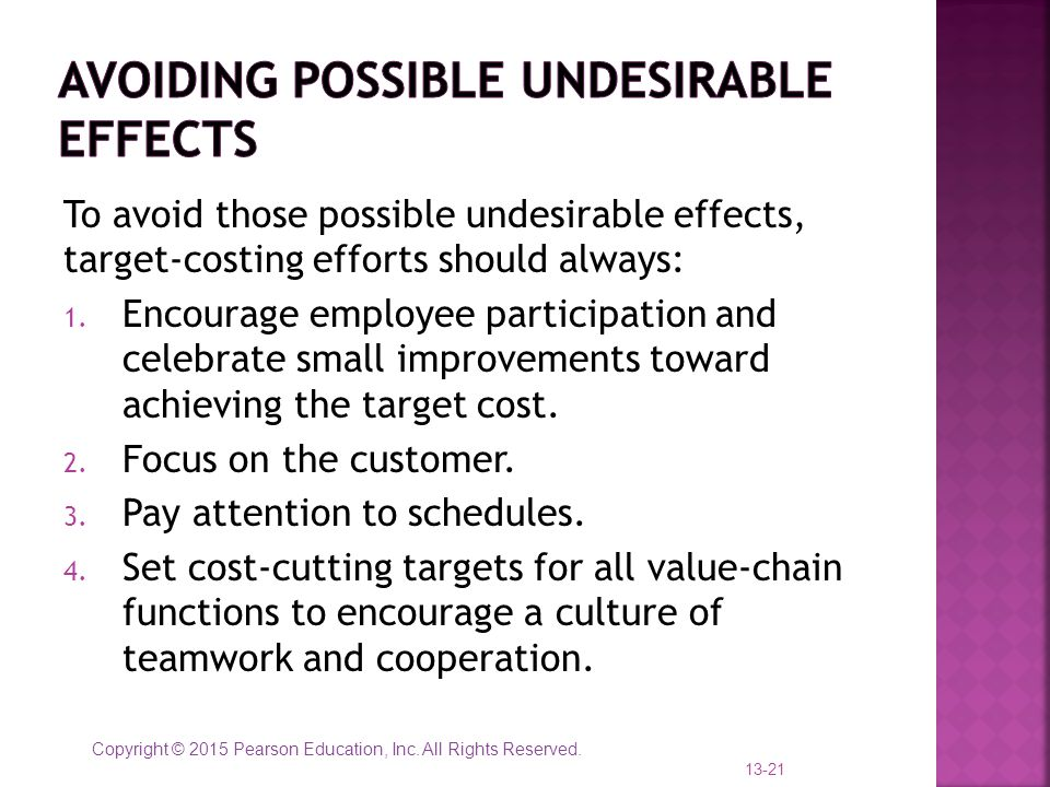 Avoiding possible undesirable effects