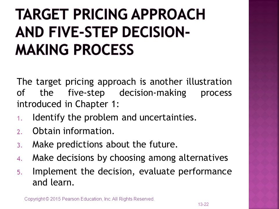 Target pricing approach and five-step decision-making process