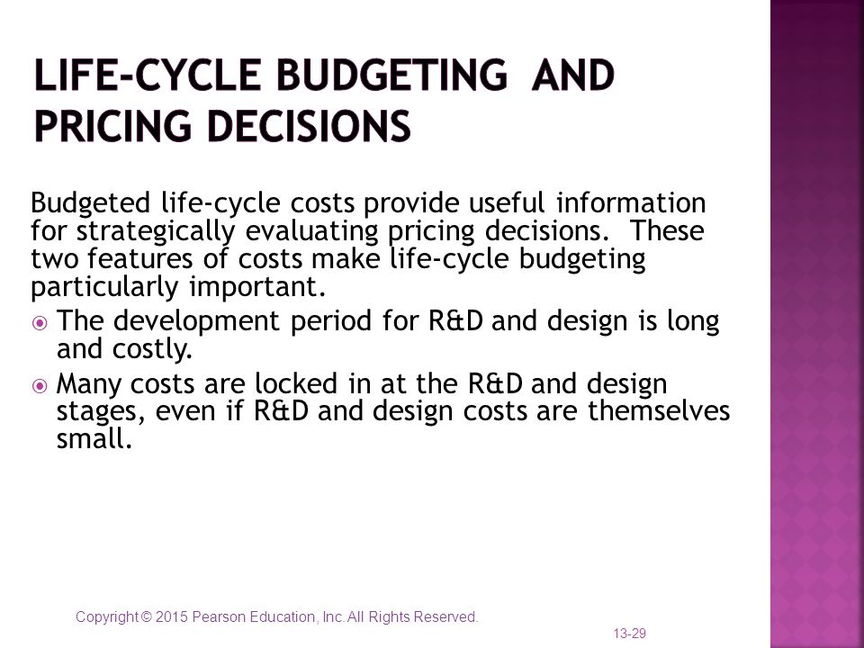 Life-Cycle Budgeting and pricing decisions
