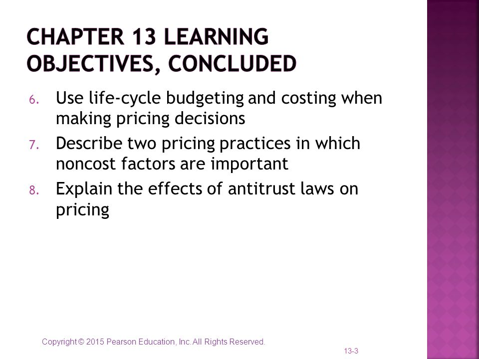 Chapter 13 learning objectives, concluded