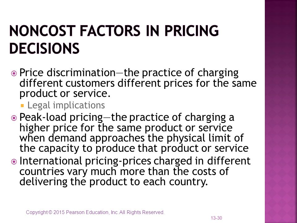 Noncost factors in Pricing Decisions