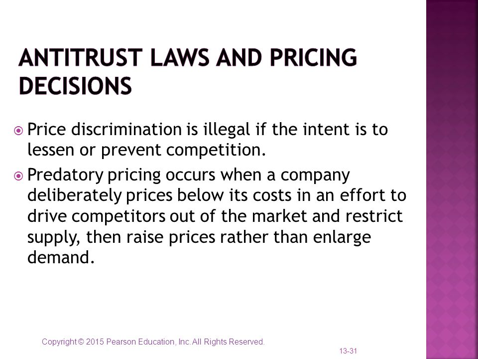 Antitrust laws and pricing decisions