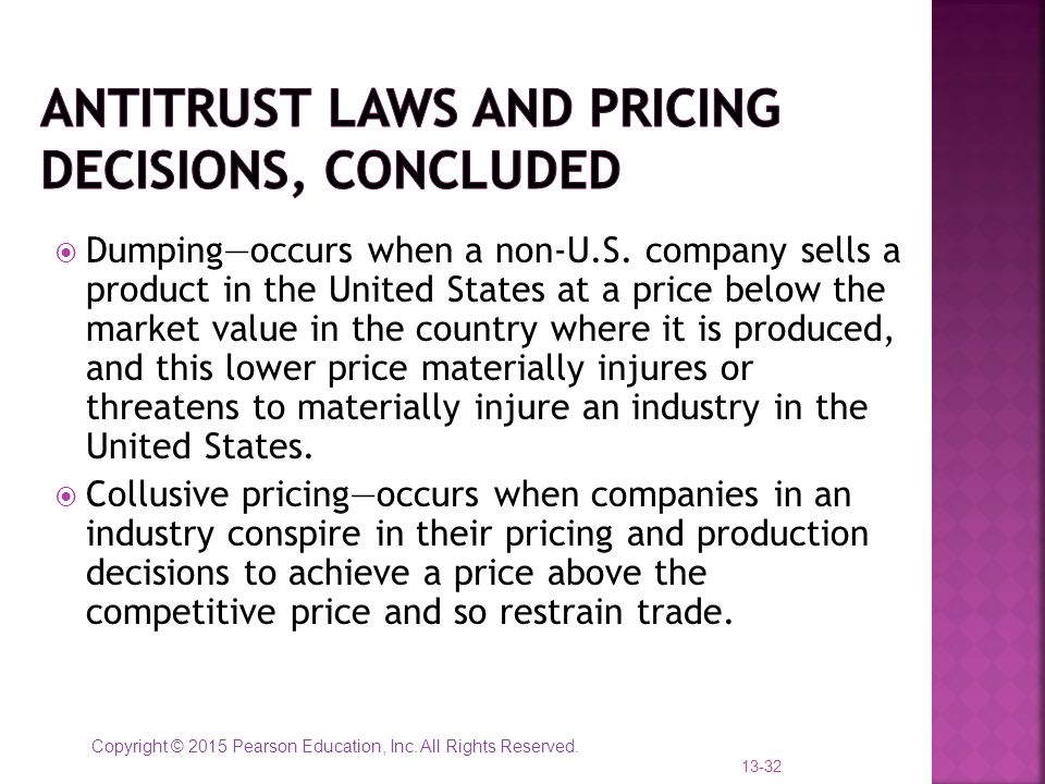 Antitrust laws and pricing decisions, concluded