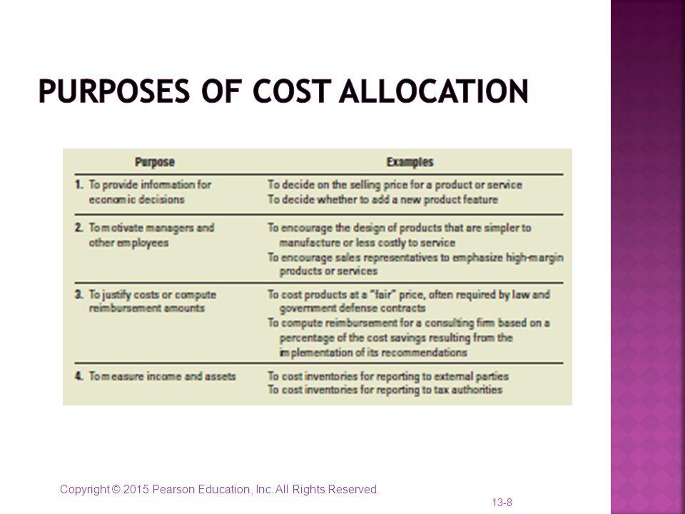 Purposes of cost allocation