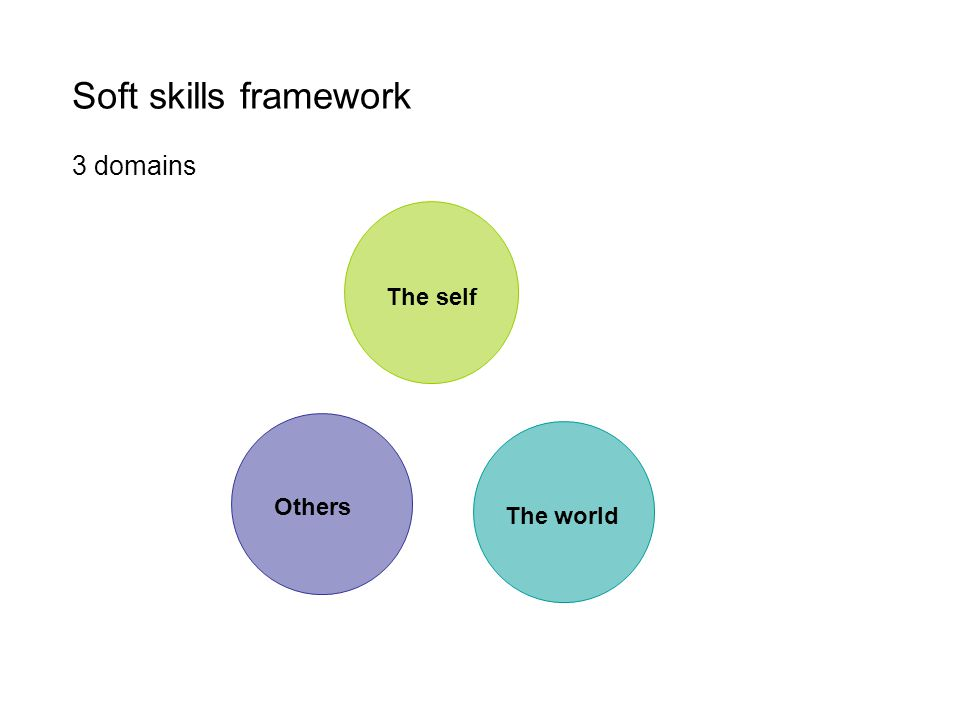 Soft skills framework 3 domains The self The world Others