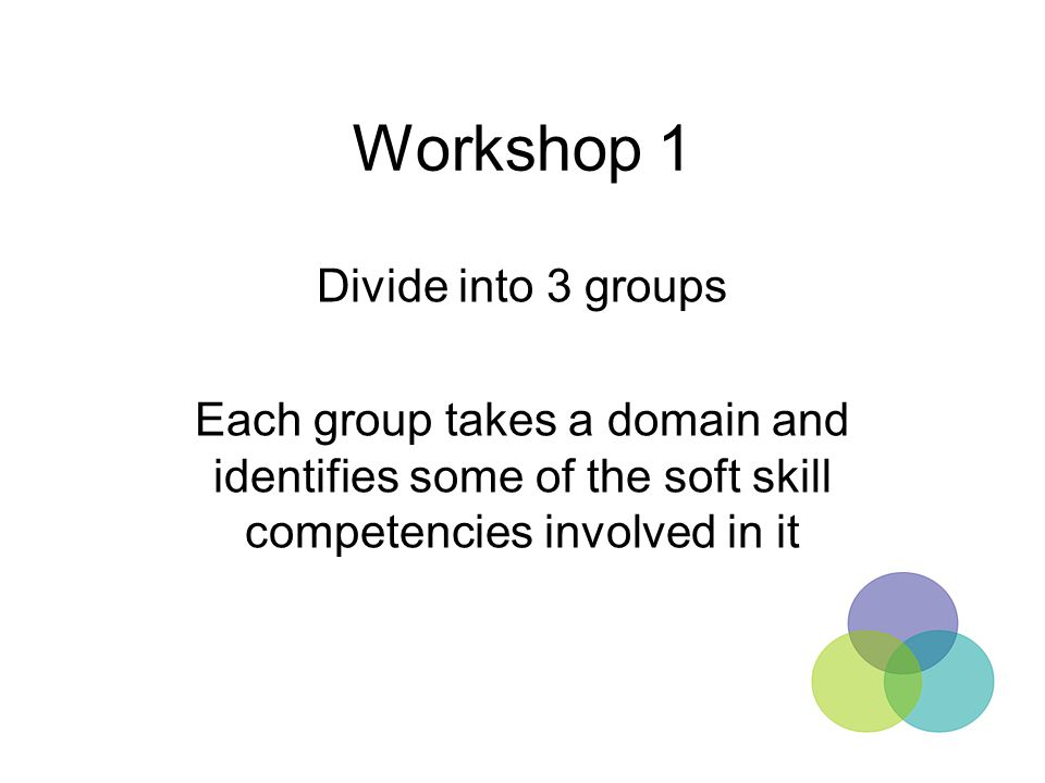 Workshop 1 Divide into 3 groups