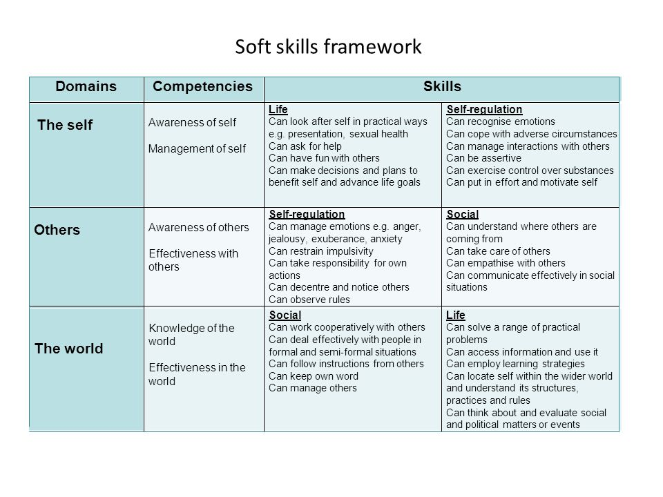 Soft skills framework Domains Competencies Skills Others The world