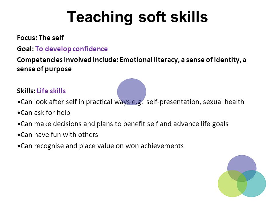 Teaching soft skills Focus: The self Goal: To develop confidence