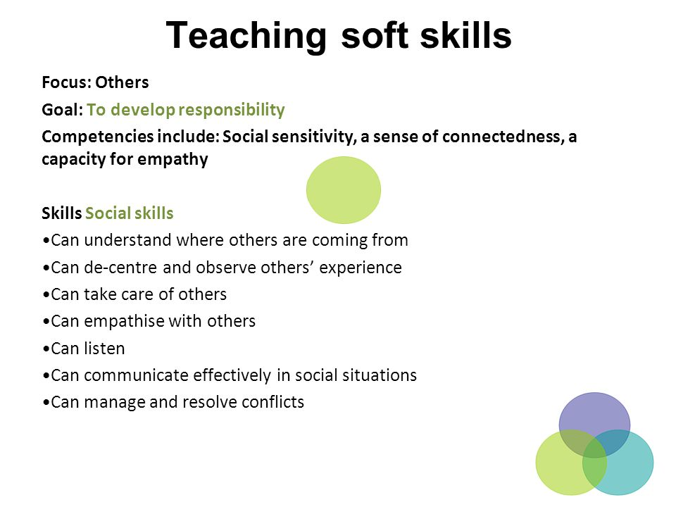 Teaching soft skills Focus: Others Goal: To develop responsibility
