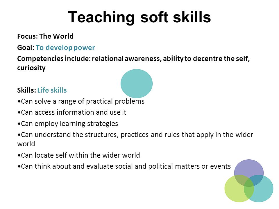 Teaching soft skills Focus: The World Goal: To develop power