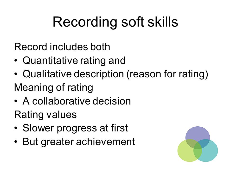 Recording soft skills Record includes both Quantitative rating and